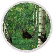 Aspen Bear Nursery Round Beach Towel