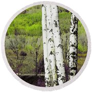Aspens 4 Round Beach Towel
