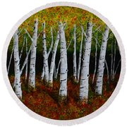 Aspens In Fall 2 Round Beach Towel