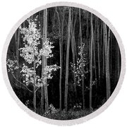 Aspens Northern New Mexico Round Beach Towel by Ansel Adams