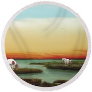 Assateague Island Sunset Round Beach Towel