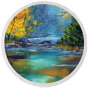 Round Beach Towel featuring the painting Assurance by Meaghan Troup