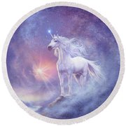 Astral Unicorn Round Beach Towel by Steve Read