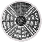Astrodome Ceiling Round Beach Towel by Benjamin Yeager
