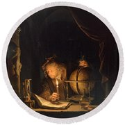 Astronomer By Candlelight Round Beach Towel by Gerrit Dou