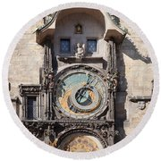 Astronomical Clock At The Old Town Round Beach Towel