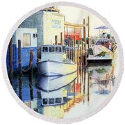 At Cortez Docks Round Beach Towel