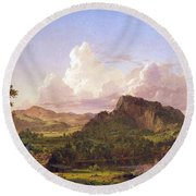 At Home On The Lake By Frederick Edwin Church Round Beach Towel