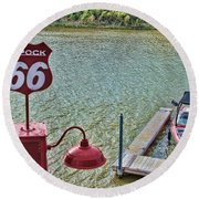 At Lake Havasu Round Beach Towel by Cathy Anderson