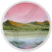 Round Beach Towel featuring the painting At Peace by Jennifer Muller
