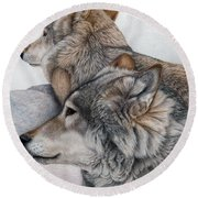 Round Beach Towel featuring the painting At Rest But Ever Vigilant by Pat Erickson