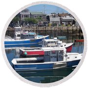 Round Beach Towel featuring the photograph Colorful Boats by Eunice Miller