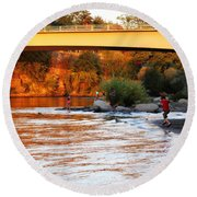 Round Beach Towel featuring the photograph At Rivers Edge by Melanie Lankford Photography
