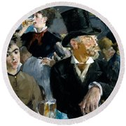 At The Cafe Concert Round Beach Towel by Edouard Manet