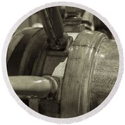 At The Helm Black And White Sepia Round Beach Towel