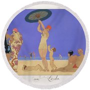 At The Lido Round Beach Towel