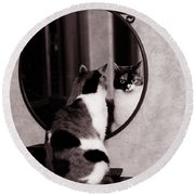 Round Beach Towel featuring the photograph At The Mirror by Laura Melis