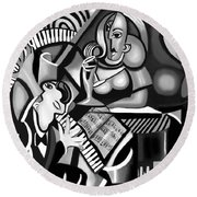 At The Piano Bar Round Beach Towel
