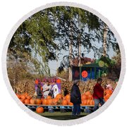At The Pumpkin Farm Round Beach Towel by Kay Novy