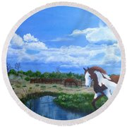 At The Ranch Round Beach Towel
