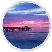 Myrtle Beach State Park Pier Sunrise Round Beach Towel by Vizual Studio