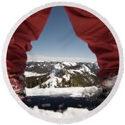 At The Top Of The Mountain Round Beach Towel