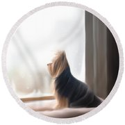 At The Window Round Beach Towel