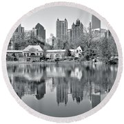 Atlanta Reflecting In Black And White Round Beach Towel by Frozen in Time Fine Art Photography