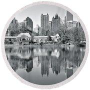 Atlanta Reflecting In Black And White Round Beach Towel