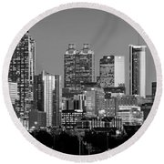 Round Beach Towel featuring the photograph Atlanta Skyline At Dusk Downtown Black And White Bw Panorama by Jon Holiday