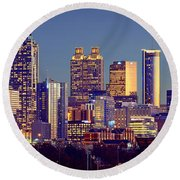 Atlanta Skyline At Dusk Downtown Color Panorama Round Beach Towel
