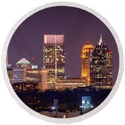 Atlanta Skyline At Night Downtown Midtown Color Panorama Round Beach Towel