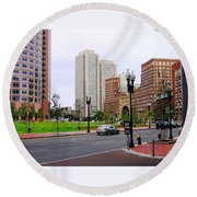 Atlantic Avenue Round Beach Towel by Oleg Zavarzin