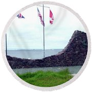 Round Beach Towel featuring the photograph Atlantic Charter Historic Site by Barbara Griffin