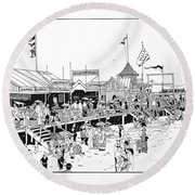 Atlantic City Boardwalk 1883 Round Beach Towel