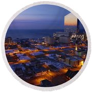 Atlantic City At Dawn Round Beach Towel