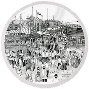Round Beach Towel featuring the drawing Atlantic City Boardwalk 1890 by Ira Shander