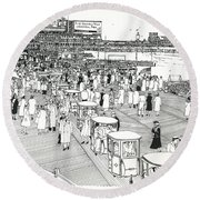 Round Beach Towel featuring the drawing Atlantic City Boardwalk 1940 by Ira Shander