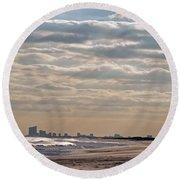 Atlantic City Skyline II Round Beach Towel