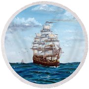 Round Beach Towel featuring the painting Atlantic Crossing  by Lee Piper