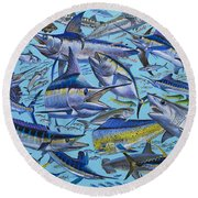 Atlantic Gamefish Off008 Round Beach Towel by Carey Chen