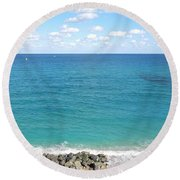 Atlantic Ocean In South Florida Round Beach Towel