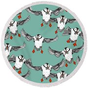 Atlantic Puffins Mint Round Beach Towel by Sharon Turner