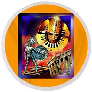 Round Beach Towel featuring the mixed media Atlantis - The Minoan Empire Has Fallen by Hartmut Jager