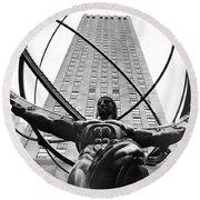 Atlas In Rockefeller Center Round Beach Towel