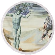 Atlas Turned To Stone, C.1876 Round Beach Towel by Sir Edward Coley Burne-Jones
