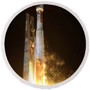 Round Beach Towel featuring the photograph Atlas V Rocket Taking Off by Science Source