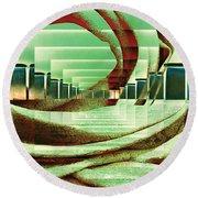 Round Beach Towel featuring the digital art Atrium by Paula Ayers