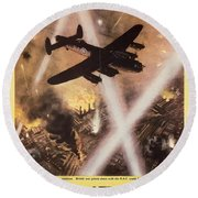 Attack Begins In Factory Propaganda Poster From World War II Round Beach Towel
