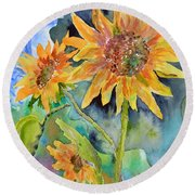 Attack Of The Killer Sunflowers Round Beach Towel